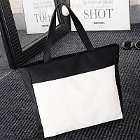 Вместительная тканевая сумка шоппер, женская черно-белая эко-сумка  FS-3696-10