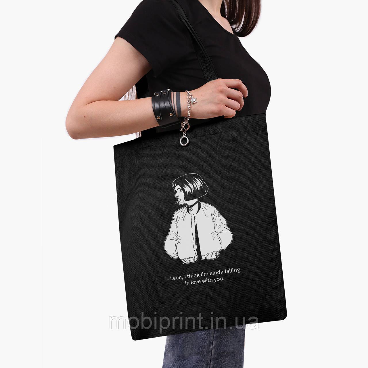 Эко сумка шоппер черная Леон киллер (Leon) (9227-1452-2)  экосумка шопер 41*35 см