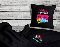 """Подарочный набор: подушка и плед с вышивкой №04 """"Лучший учитель"""" цвет на выбор"""