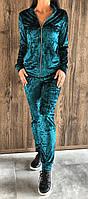 Велюровый женский домашний костюм на змейке 42-44