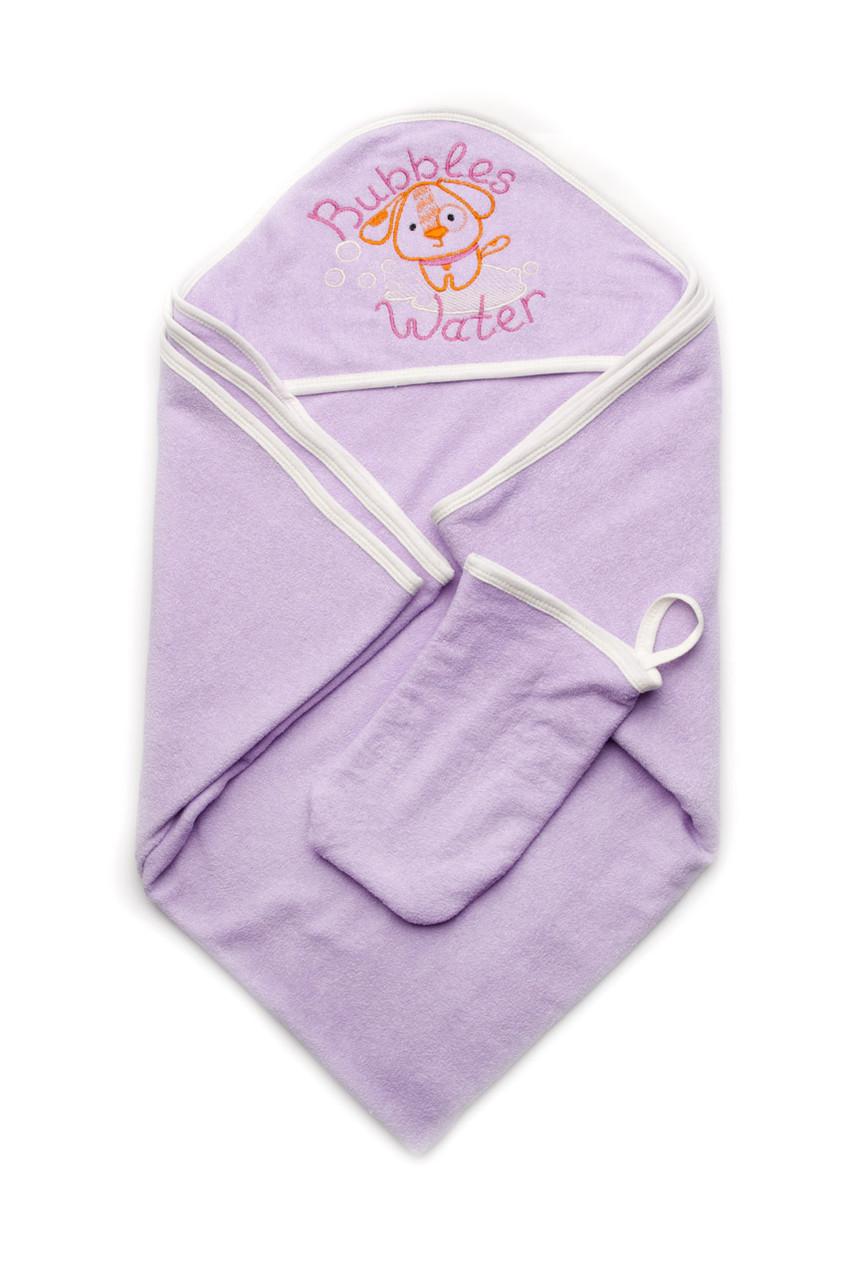 Дитячий рушник махровий для купання з рукавичкою