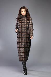 Пуховик женский зимний длинный бронзовый на изософте Marshal Wolf