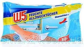 Влажные салфетки для уборки W5  (Морская свежесть) 80 шт Германия