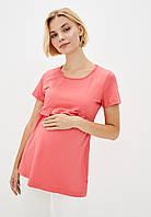 Удлиненная футболка с рюшем для беременных и кормящих (коралл), фото 1