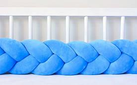 Бортик в кроватку Хатка Косичка Синий