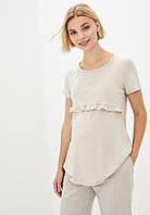 Удлиненная футболка с рюшем для беременных и кормящих (беж), фото 1