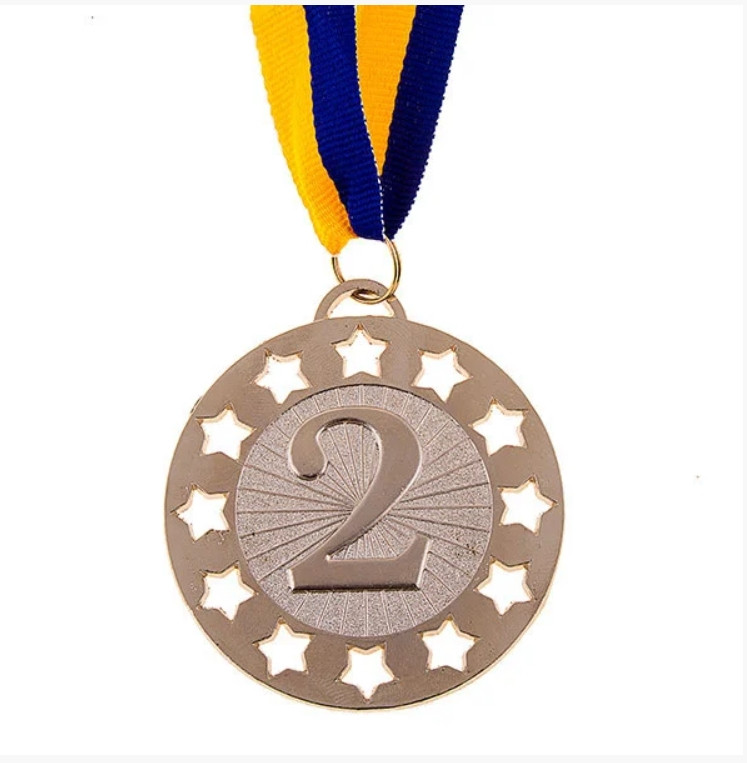 Медаль наградная, d=65 мм, серебро 1уп=25шт