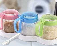 Набор банок для сыпучих продуктов, 3шт. 10,5*11,5*7,5см (0.9 л.)