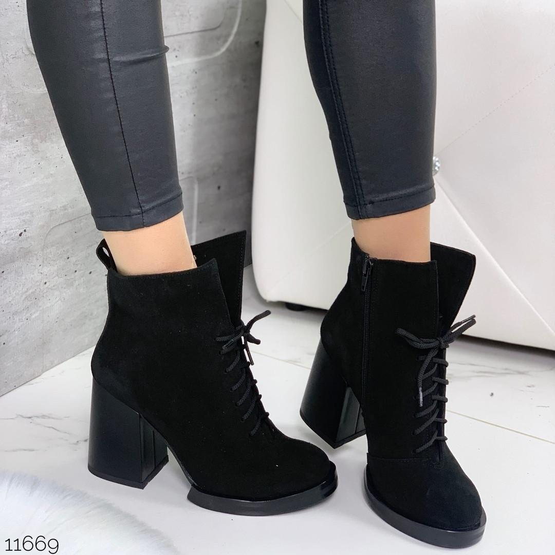 Ботинки замшевые женские на каблуке 11669 (ЯМ)