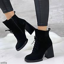 Ботинки замшевые женские на каблуке 11669 (ЯМ), фото 3