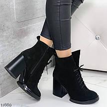 Ботинки замшевые женские на каблуке 11669 (ЯМ), фото 2