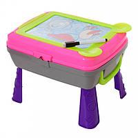 Мольберт детский для рисования 4 в 1 (столик, мольберт, рюкзак) YM771-2 Розовый