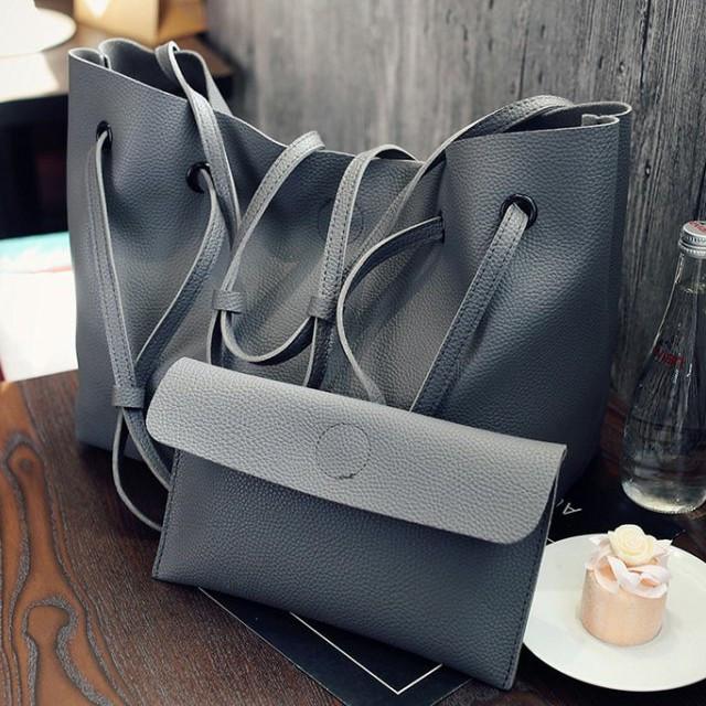 Сірий набір сумок 2в1, Комплект велика сумка зі шкірозамінника+клатч, Сумочка на магнітній застібці,