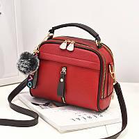 Женская сумочка на молнии кросс-боди, красная сумка через плечо среднего размера, Сумка из кожзама, CC-4554-35