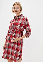 Рубашка-платье для беременных и кормящих в клетку, фото 1