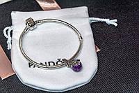 Шарм подвеска бусина фиолетовая на браслет Пандора Pandora