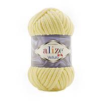 Alize Velluto (Ализе Веллуто) №13 светло-желтый (Пряжа велюр, нитки плюшевые для вязания)