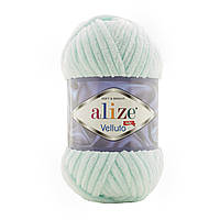 Alize Velluto (Ализе Веллуто) №15 водяная зелень (Пряжа велюр, нитки плюшевые для вязания)