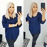 Рубашка женская коттоновая батал. Цвет: белый, чёрный, темно-синий. Размер: 48, 50, 52, 54., фото 3