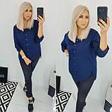 Рубашка женская коттоновая батал. Цвет: белый, чёрный, темно-синий. Размер: 48, 50, 52, 54., фото 4