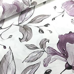 Ткань поплин крупные серо-фиолетовые цветы на белом (ТУРЦИЯ шир. 2,4 м)