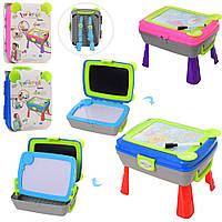 Мольберт детский для рисования 4 в 1 (столик, мольберт, рюкзак), YM771-2 Голубой