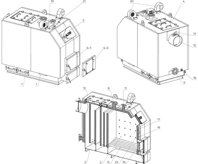 Конструкция котла Альтеп TRIO UNI PLUS 150-500 кВт (Фото)