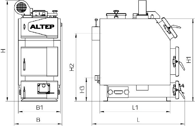 Габаритные размеры Котел АЛЬТЕП TRIO UNI PLUS 14-40 кВт (Фото-1)