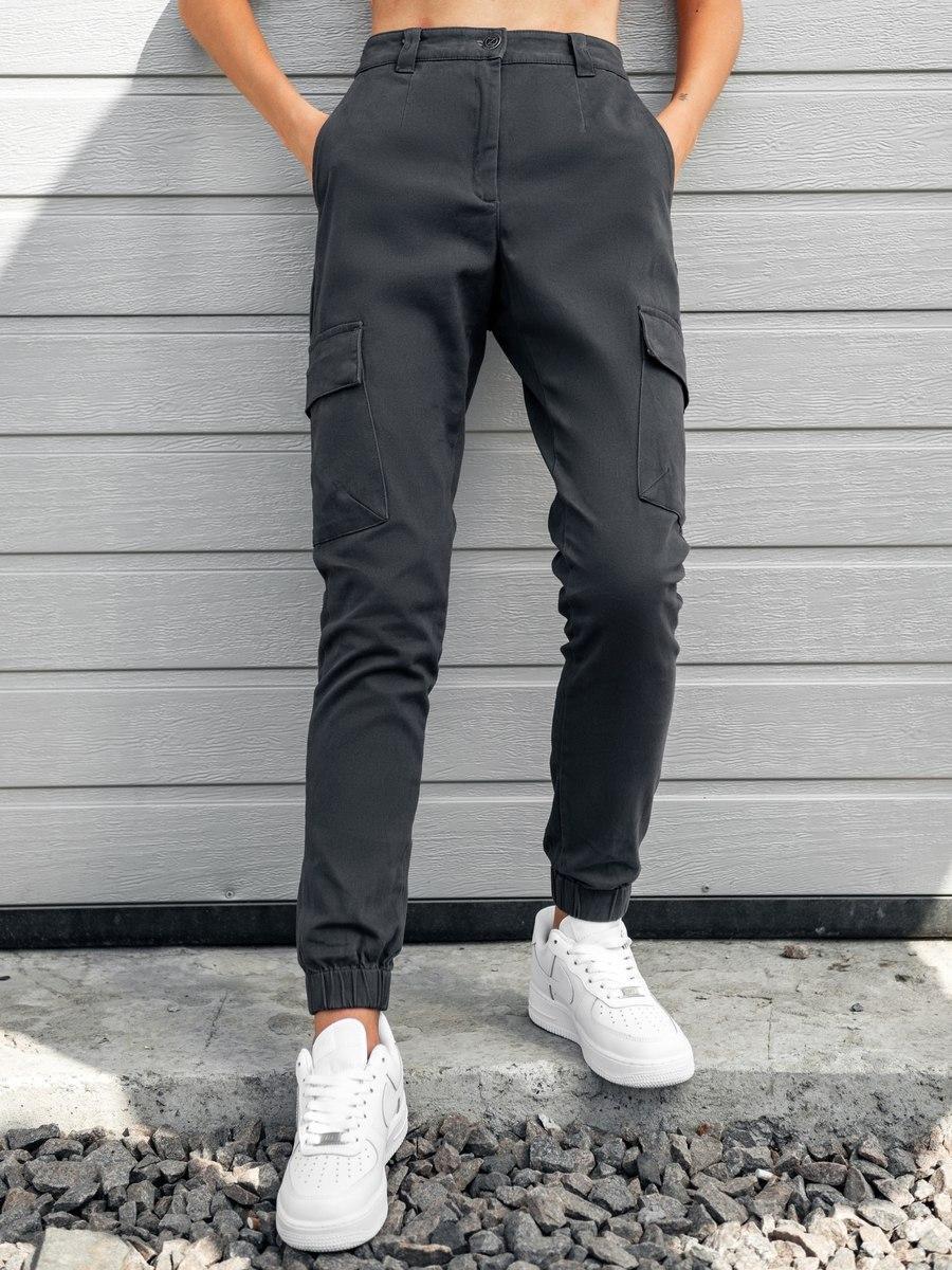 Карго брюки женские серого цвета. Базовые однотонные штаны женские серые. Спортивные брюки.
