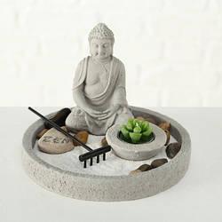 Сад камней Будда со свечой h14см серый 8110300