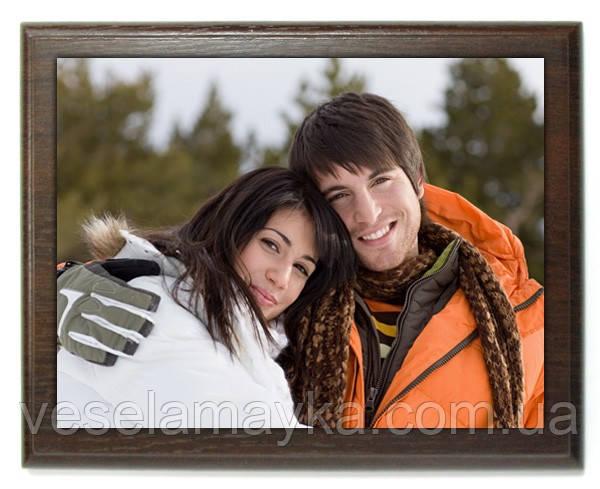 Печать фото на металле с деревянной подложкой 20х25см