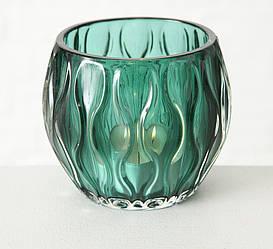 Подсвечник Элиза зеленое стекло h9см d10см цена за 1шт.