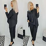 Костюм женский батал (блуза+брюки). Размер: 48, 50, 52, 54. Цвет: чёрный, марсала., фото 3