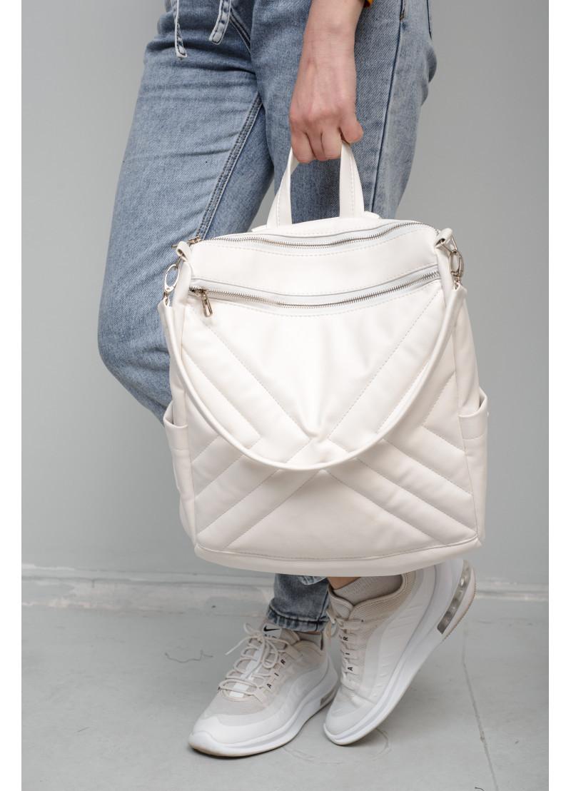 Модный женский белый рюкзак-сумка повседневный, городской, матовая эко-кожа