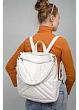 Модный женский белый рюкзак-сумка повседневный, городской, матовая эко-кожа, фото 2