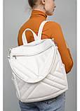 Модный женский белый рюкзак-сумка повседневный, городской, матовая эко-кожа, фото 3