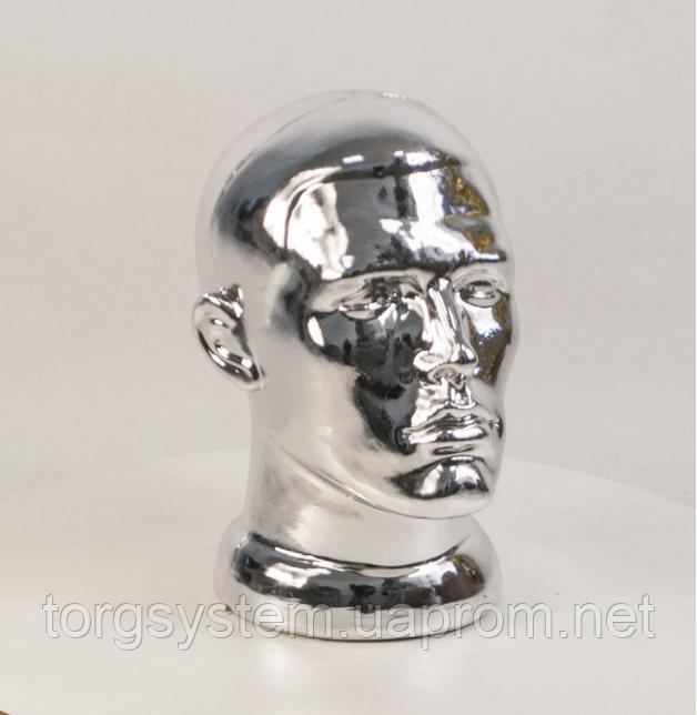 Манекен мужской голова металлизированная с лицом  СЕРЕБРО ЗОЛОТО