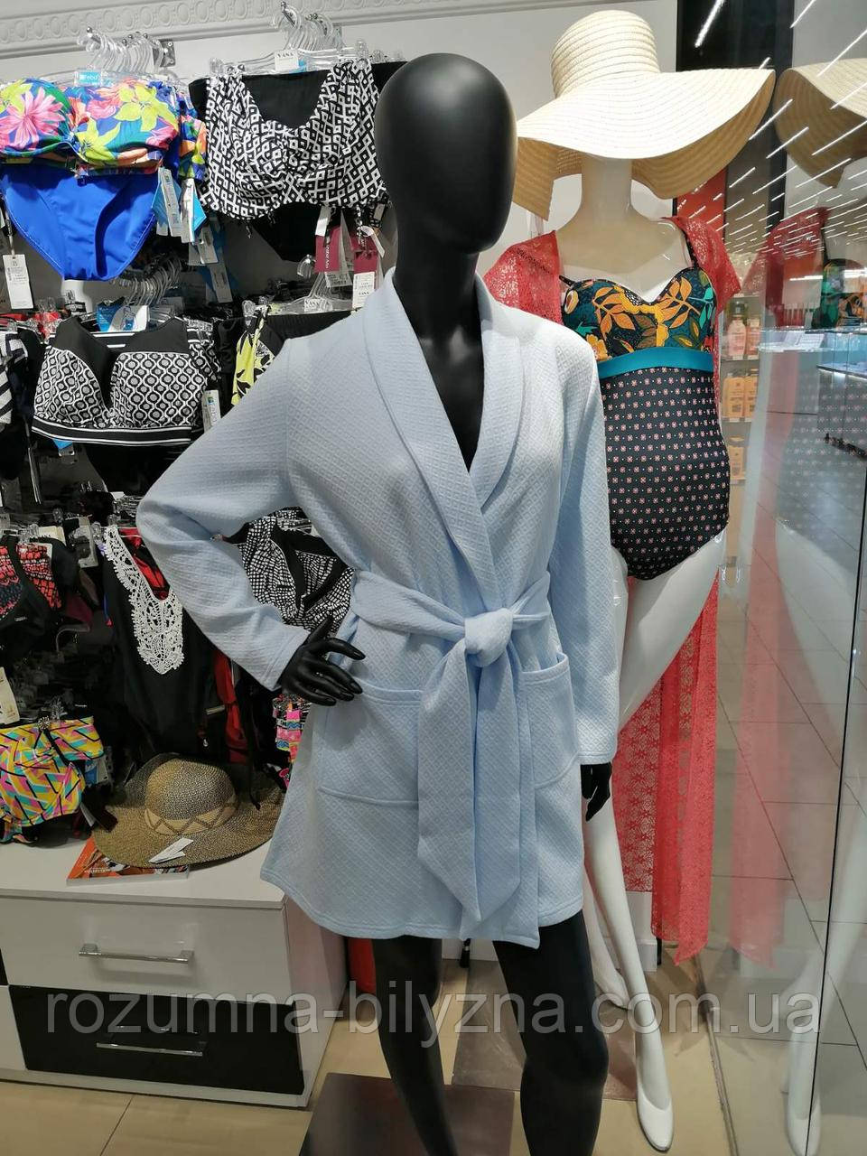 Халат жіночий блакитного кольору. ТМ Fleri. Україна. 44.