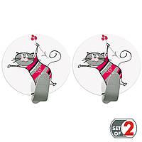 Крючки для полотенец Tatkraft Funny Cats самоклеющиеся из нержавеющей стали 2 шт в компл 55х50 мм (20092)