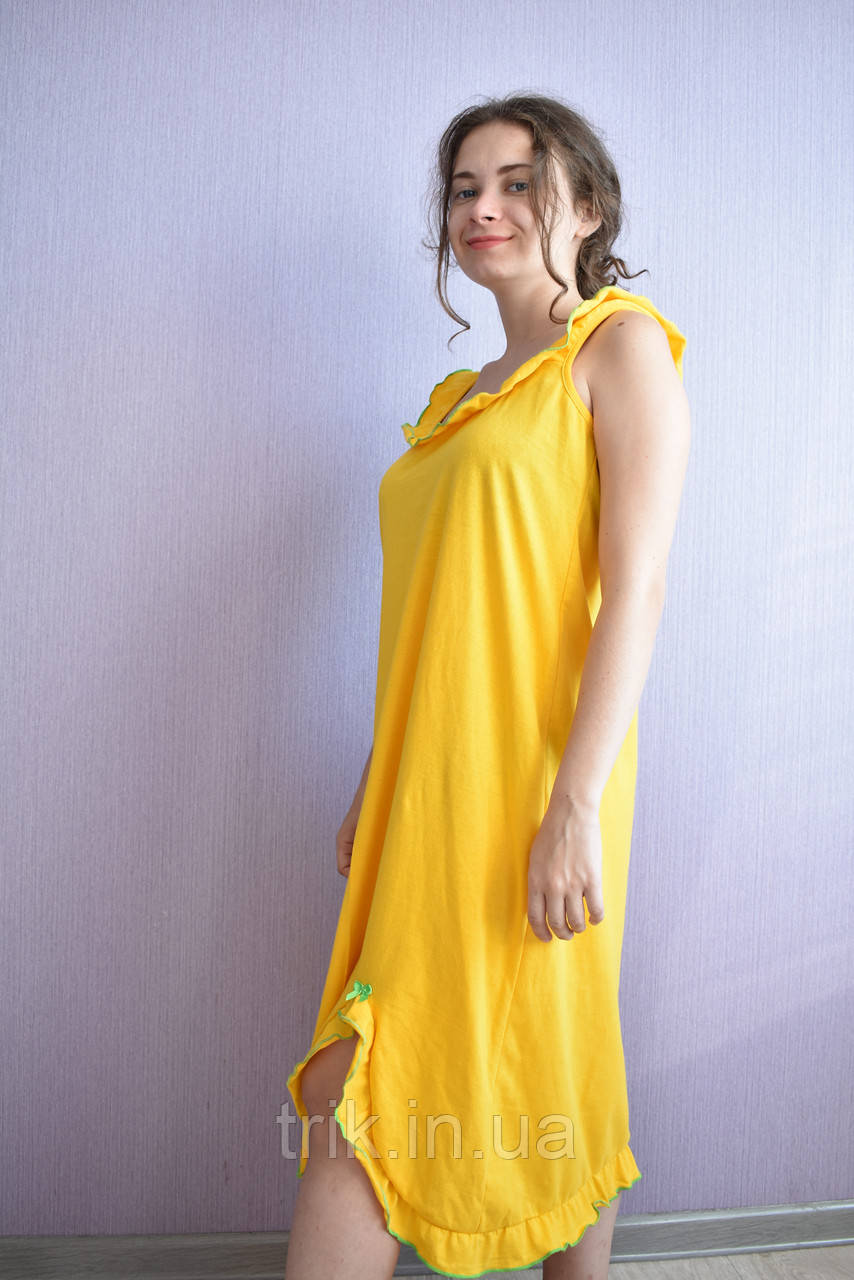 Ночнушка сарафан желтая Анжелика зеленая опековка