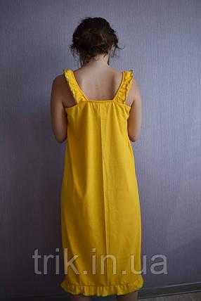 Ночнушка сарафан желтая Анжелика зеленая опековка, фото 2