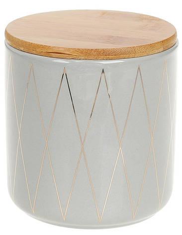 Банка керамическая 600 мл с бамбуковой крышкой Ромбы BonaDi 304-913, фото 2