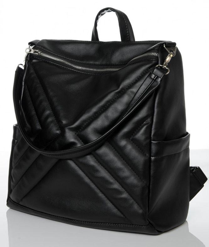 Модный женский рюкзак-сумка черный из эко-кожи повседневный, городской