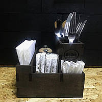 Подставка для столовых приборов, соли, перца , зубочисток, салфеток