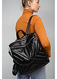 Модный женский рюкзак-сумка черный из эко-кожи повседневный, городской, фото 5