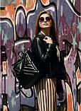 Модный женский рюкзак-сумка черный из эко-кожи повседневный, городской, фото 7