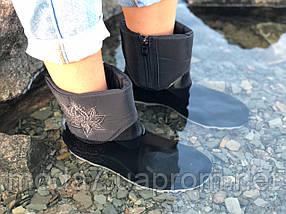 Женские резиновые  сапоги, полу сапоги с утеплителем черные замок, фото 3