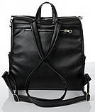 Модный женский рюкзак-сумка черный из эко-кожи повседневный, городской, фото 3