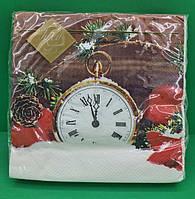 Святкова серветка (ЗЗхЗЗ, 20шт) LuxyНГ Святкові години (1 пач) заходь на сайт Уманьпак, фото 1