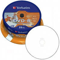 DVD-R Verbatim (43538) 4.7GB 16x AZO Wide Printable Surface, 25шт